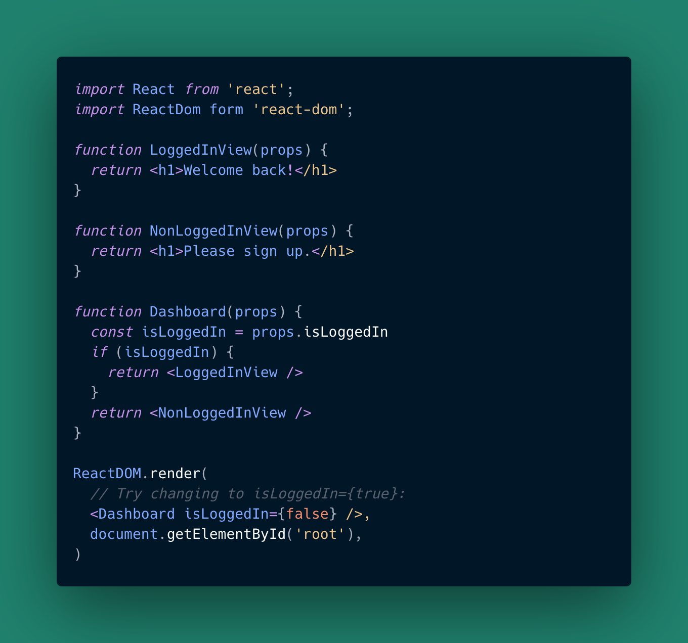 Conditional Rendering in React