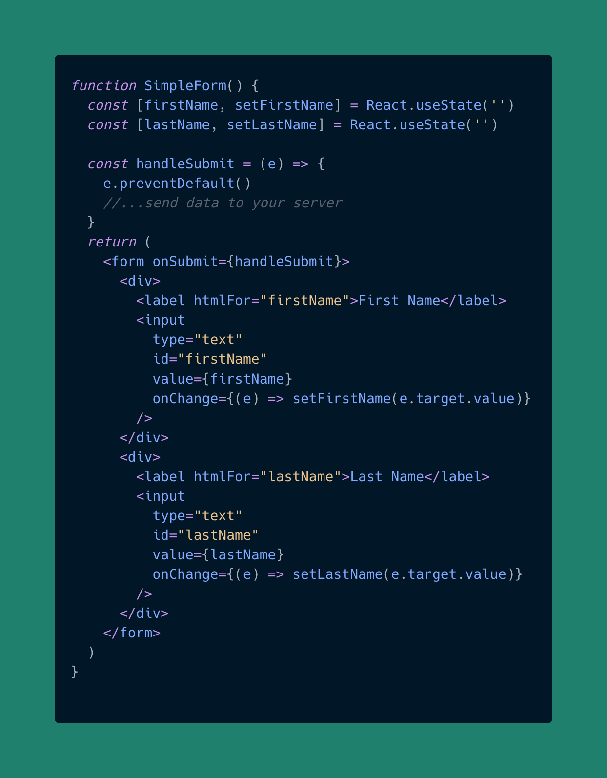 Simple Form in React